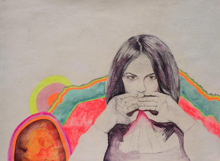 Zeichnung, Illustration, Frau, Portrait, Hände, Malerei