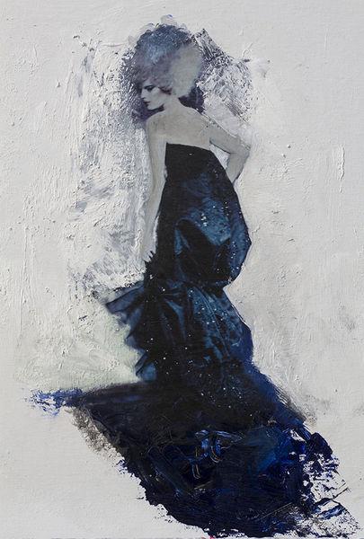 Frau, Uher, Figurativ, Portrait, Pastos, Abstrakt