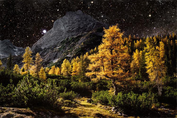 Natur, Stern, Herbst, Himmel, Berge, Farben