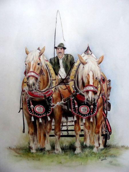 Kaltblüter, Pferdeportraits, Kaltblutgespann, Malerei, Portrait,