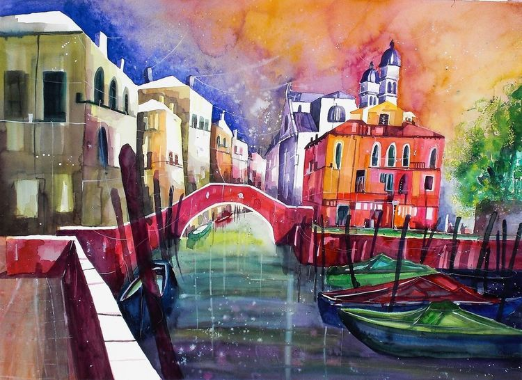 Aquarellmalerei, Venedig, Haus, Boot, Stadt, San nicolo