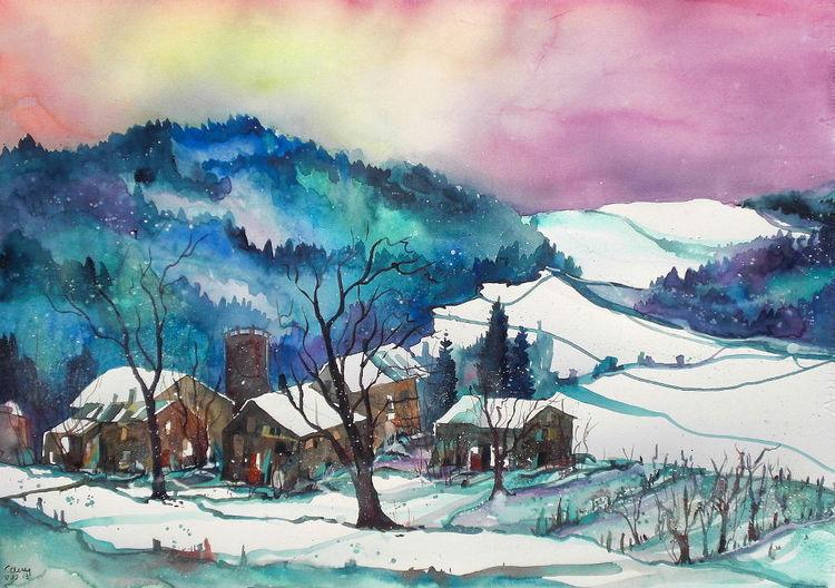 Winteraquarell, Schneelandschaftaft, Aquarellmalerei, Landscape in winter, Winter, Bauernhaus