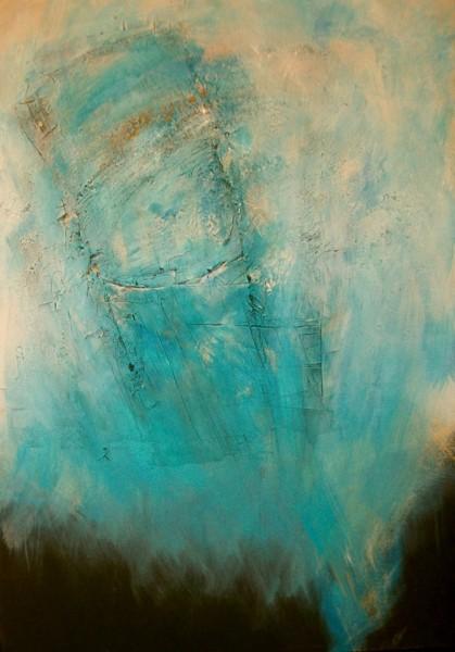 Acrylmalerei, Pigmente, Schwarz weiß, Siena, Abstrakt, Türkis