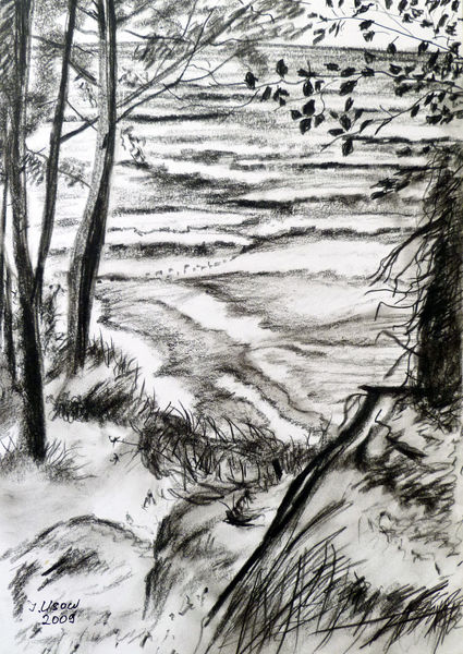 Natur, Usedom, Ostseelandschaft, Landschaft, Kohlezeichnung, Zeichnungen