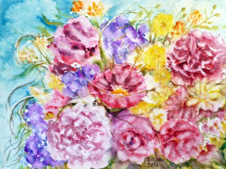 Blumenmalerei, Dekoration, Aquarellmalerei, Stillleben, Aquarell, Blumen