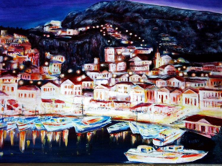 Acrylmalerei, Landschaft, Meer, Malerei, Küste, Nacht