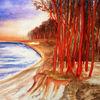Baum, Aquarellmalerei, Landschaft, Natur