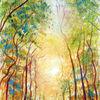 Landschaft, Natur, Bäüme, Aquarellmalerei
