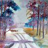 Natur, Baum, Aquarellmalerei, Landschaft