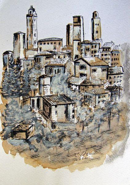 Italien, Aquarellmalerei, Landschaft, Toskana, Architektur, Zeichnungen