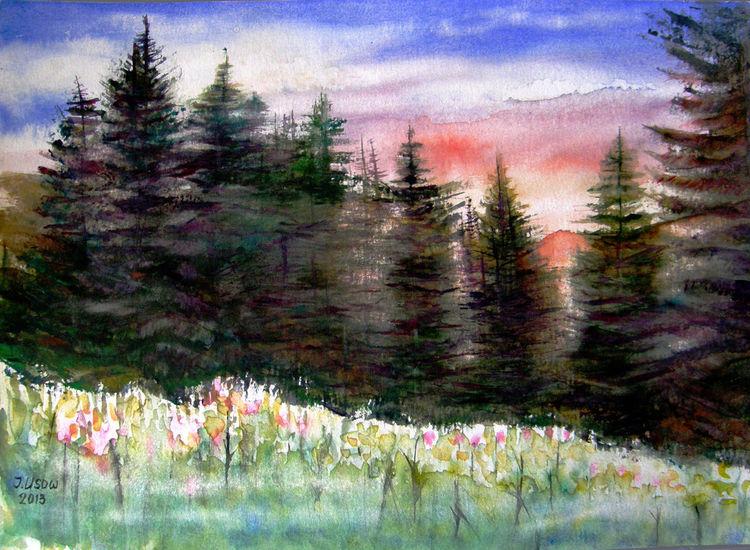 Aquarellmalerei, Landschaft, Natur, Wald, Aquarell