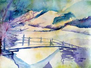 Landschaft, Brücke, Natur, Berge, Winter, Fluss