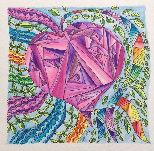 Herz, Aquarellmalerei, Zeichnung, Fantasie, Zeichnungen