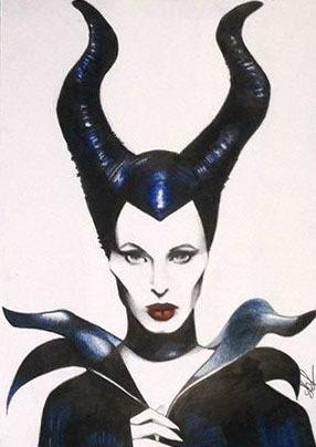 Fantasie, Zeichnung, Maleficent, Angelina jolie, Schwarz, Blau
