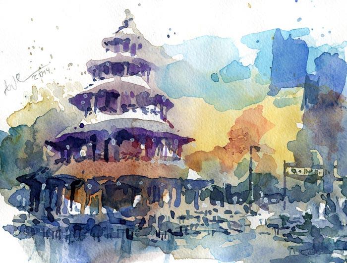 Biergarten, München, Aquarellmalerei, Chinesisch, Turm, Aquarell