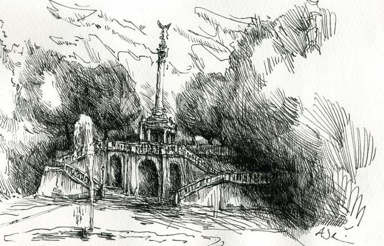 München, Zeichnung, Friedensengel, Zeichnungen,