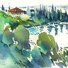 Gardasee, Aquarellmalerei, Vigilio, Lago di garda