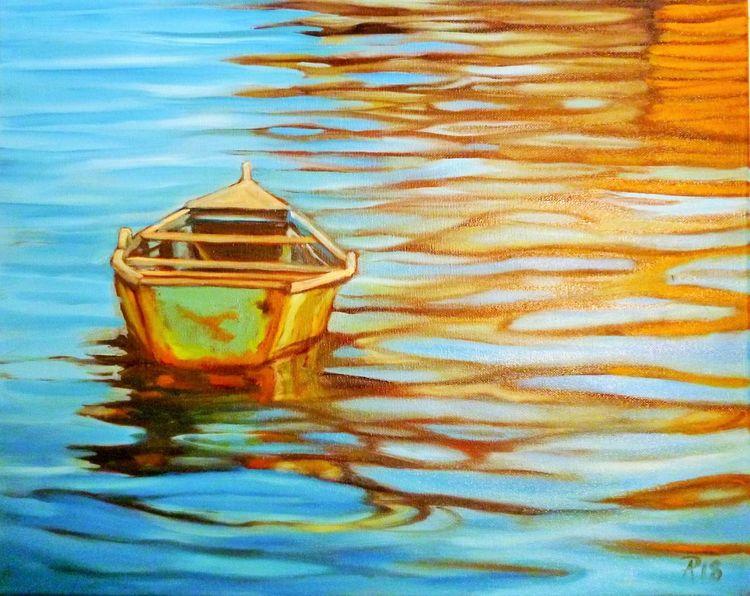 Spiegelung, Farben, Boot, Hellblau, Wasser, Malerei