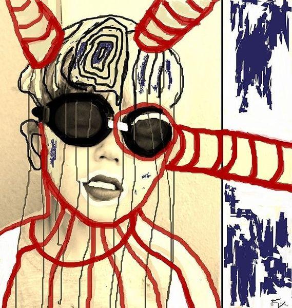 Gehirn, Gedankenabfluss, Skizze, Digital, Junge, Portrait