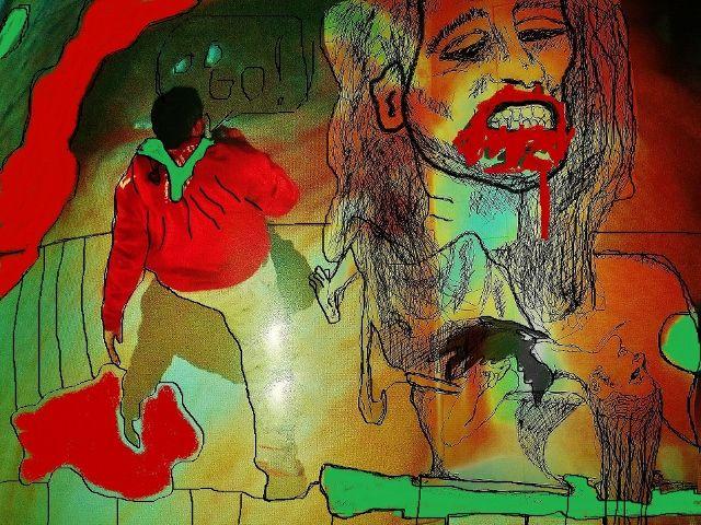 Krieger, Rot, Frau, Mann, Digitale kunst, Kampf