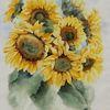 Sonnenblumen, Blumen, Aquarellmalerei, Aquarell