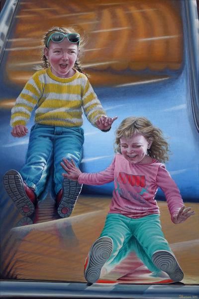 Ölmalerei, Portrait, Jahrhundert, Gegenständlich, Kinder, Realismus