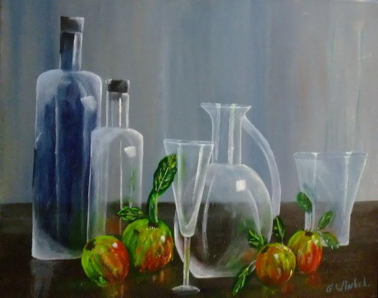 Acrylmalerei, Malerei, Stillleben, Flasche, Malerei stilleben,