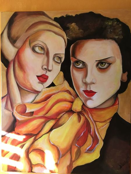 Schön, Ölmalerei, Lempicka, Blick, Hommage, Portrait
