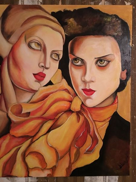 Hommage, Rot schwarz, Lempicka, Blick, Malerei,