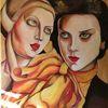 Leinen, Frau, Schön, Ölmalerei