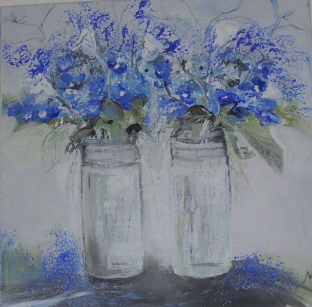 Blau, Blatt und blüte, Blumen, Grau, Malerei