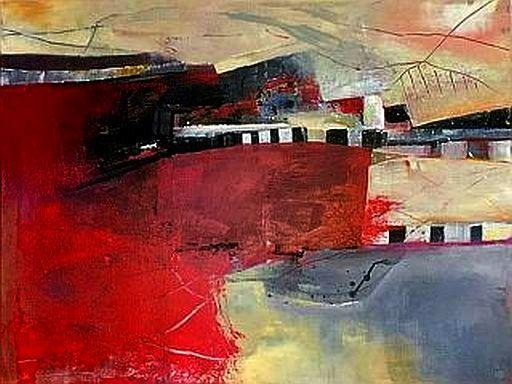 Rot, Abstrakt, Modern, Malerei, Landschaft,