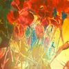 Blatt und blüte, Abstrakt, Acrylmalerei, Malerei