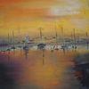 Segelboot, Terra, Gelb, Abendstimmung