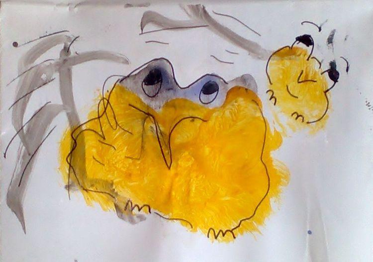 Sonnengrüße, Vogelkind, Farbrest, Ostern, Malerei