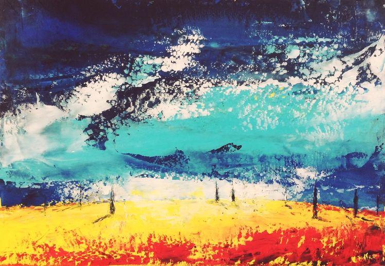 Abstrakt, Öl auf karton, Spachteltechnik, Malerei, Öl gemälde, Toskana