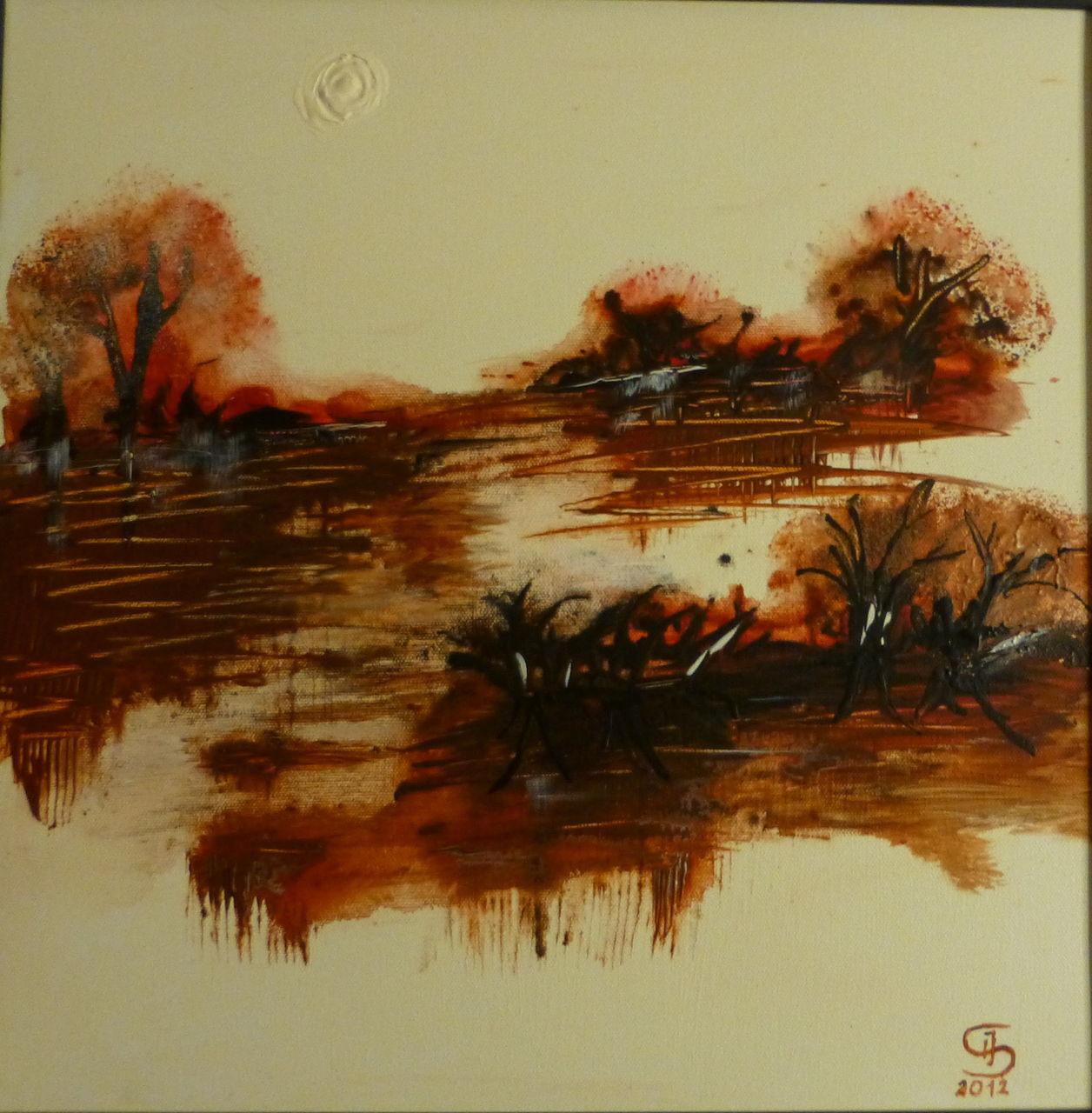 warme farben malerei, 0118 stille am see - warme farben, acrylmalerei, malerei, stille von, Innenarchitektur