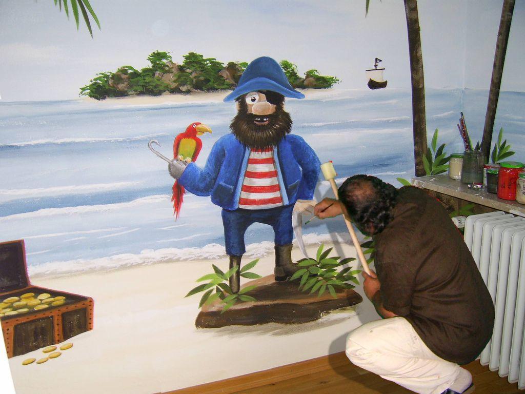 bild wandmalerei kinderzimmer pirat malerei von roland schmid bei kunstnet. Black Bedroom Furniture Sets. Home Design Ideas