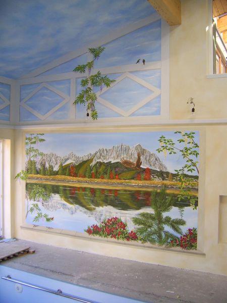 Wandmalerei, Illusionsmalerei, Bergsee, Malerei