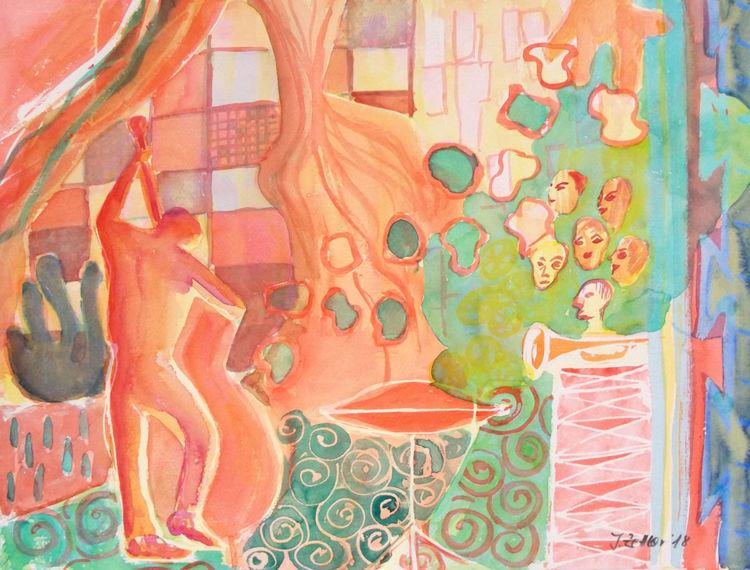 Komposition, Modern, Abstrakte impression, Musik, Jazz, Aquarell