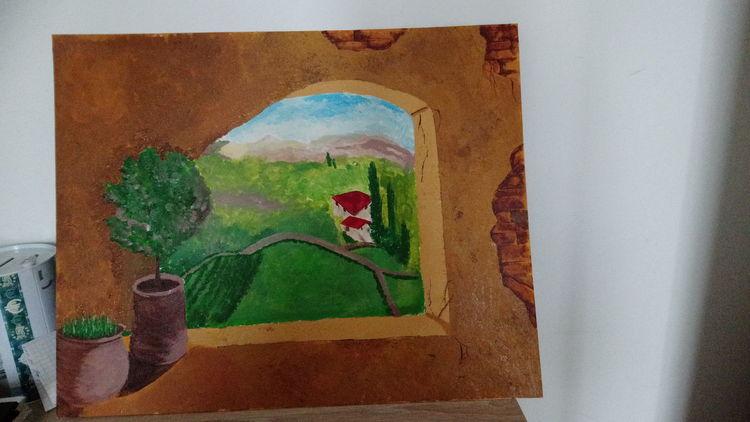 Mediterran, Landschaft, Toskana, Malerei