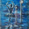 Dunkel, Tanz, Regen, Ballerina