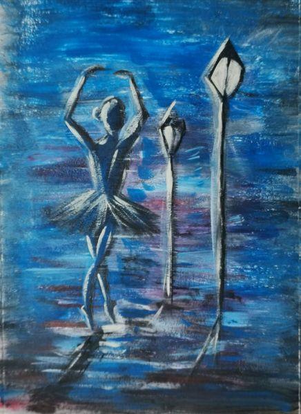 Ballerina, Dunkel, Tanz, Regen, Malerei