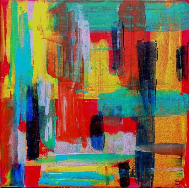Abstrakte kunst, Verlaufen, Rakeltechnik, Acrylmalerei, Malerei