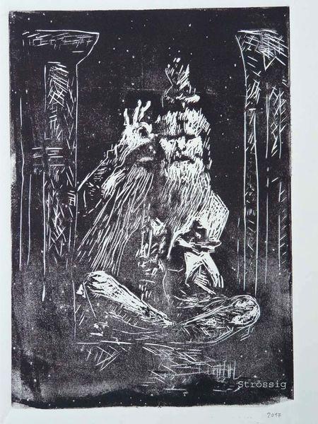Linolschnitt, Galery, Portrait, Indien, Noun de kunst, Beoefenaar