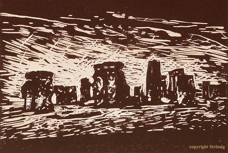 Linolschnitt, Mythologie, Linoldruck, Stonehenge, Linosnede, Kunstenaar