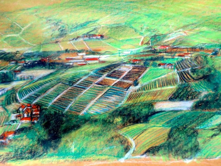 Landschaft, Skizze, Piemont, Zeichnungen