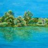Kaiserstuhl, See, Baum, Malerei