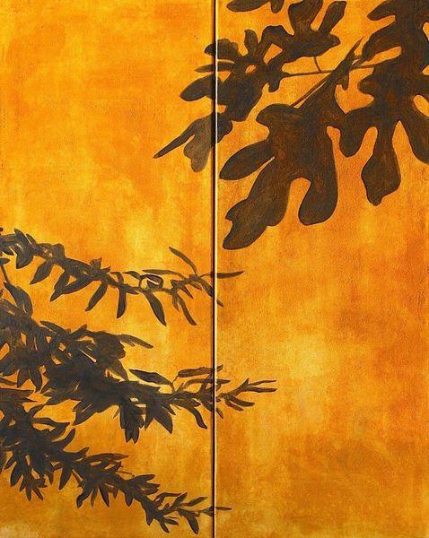 Hauswand, Schatten, Feigenblätter, Olivenblätter, Malerei
