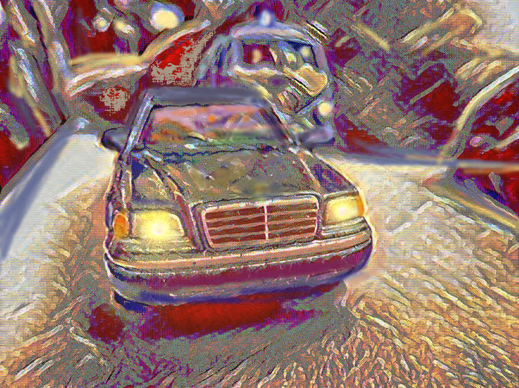 Oldtimer, Outsider art, W202, Digitale kunst, Vw, Verfolgung